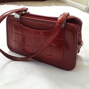 Brighton Red Leather/Ebossed Croc Shoulder Bag